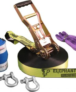 Elephant-Slacklines-25meter-Freak-fluro-yellow-slings-shackles-tree-protection-zoom
