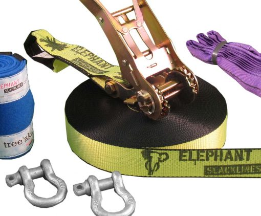 Elephant-Slacklines-25meter-Freak-fluro-yellow-slings-shackles-tree-protection-zoom-in
