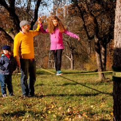 Gibbon-slackline-Classic-Line-X13-kids-walking-on-hand