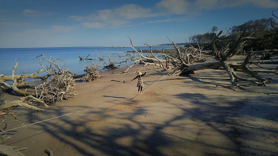 Slackline-longlining-beach-driftwood-new-zealand