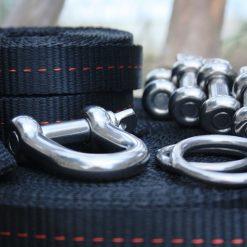 Slackline set shackle line locker primitive pulley system