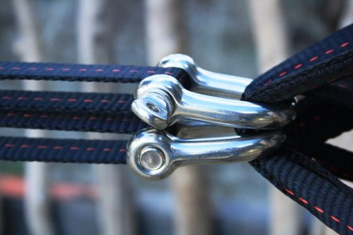 shackle pulley slackline system